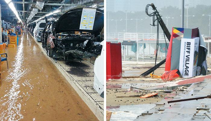 (왼쪽 사진)울산 현대차 공장에 들어찬 물, (오른쪽 사진)폐허된 부산국제영화제 무대.