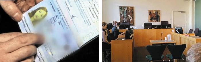 정유라 맞나, 여권 확인 - 덴마크 경찰이 정유라씨를 체포하기 전 여권으로 신분을 확인하고 있다(사진 왼쪽). 덴마크 법원, 정씨 구금연장 심리 - 2일 오후 2시(현지 시각) 덴마크 올보르 지방법원 관계자들이 전날 체포된 정유라씨의 구금 연장 여부를 결정하는 심리를 준비하고 있다(사진 오른쪽)