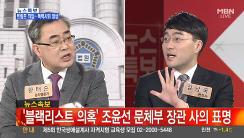 정치평론가 황태순씨와 김남국 변호사가 문화계 블랙리스트와 관련해 논쟁을 벌였다./MBN 캡쳐