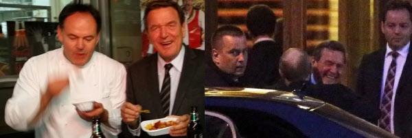게르하르트 슈뢰더 전 독일 총리가 시민들과 길거리 노점상에서 소시지를 먹는 소탈한 모습(왼쪽)과 자신의 생일에 러시아에서 블라디미르 푸틴 대통령과 호화 파티를 하는 모습(오른쪽)./인터넷 캡처 및 텔레그래프