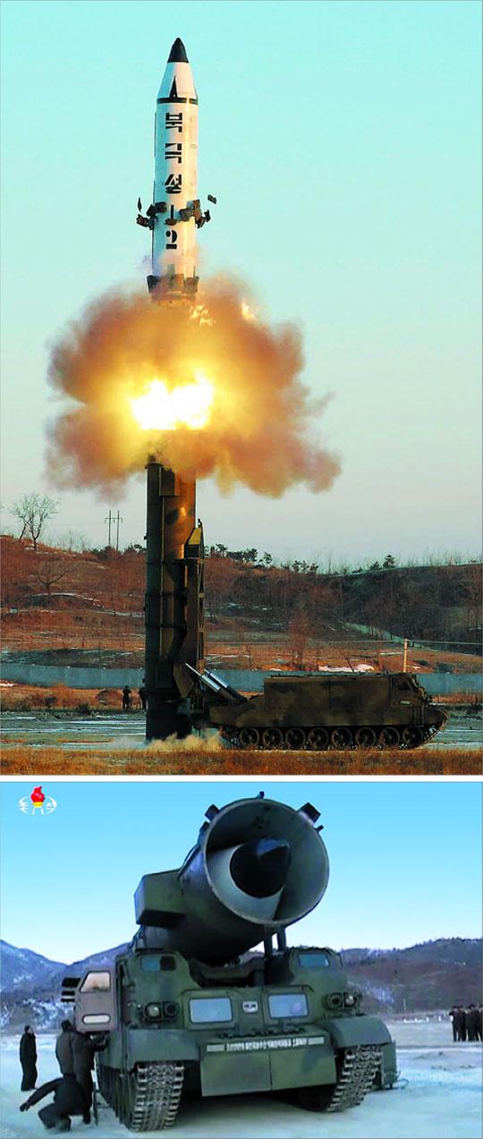 북한은 지난 12일 실시한'북극성 2형'중장거리 탄도미사일(IRBM) 발사 장면을 13일 조선중앙통신을 통해 공개했다.