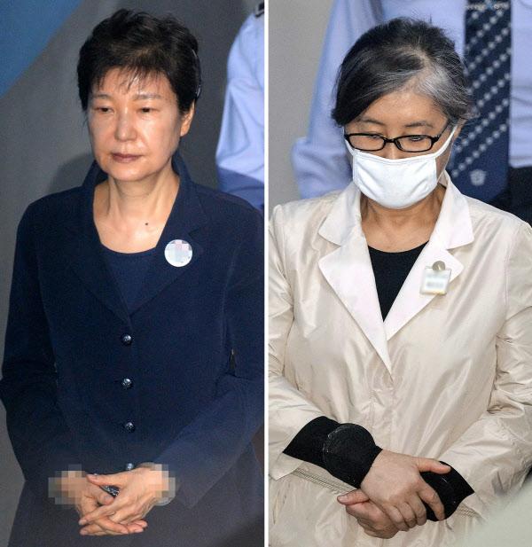23일 법원에 출두한 박근혜 전 대통령과 비선실세 최순실씨./뉴시스