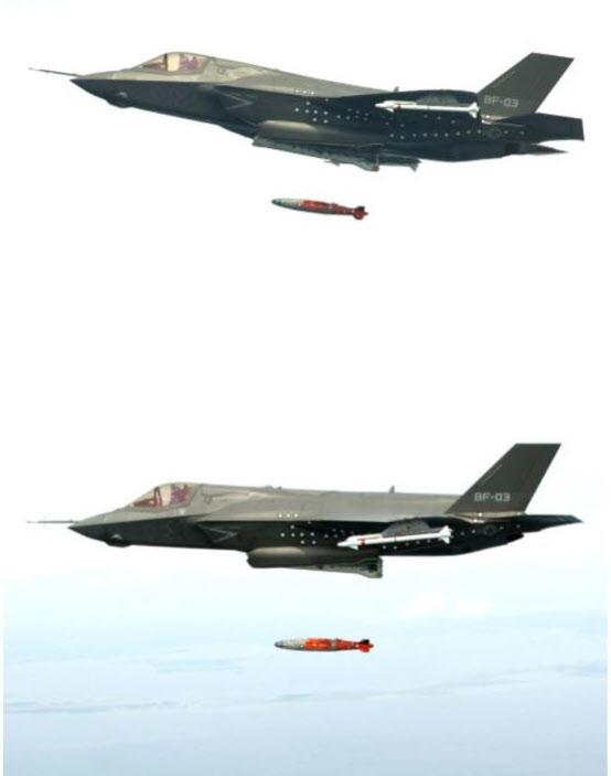 F-35A가 연습용 GBU-32 JDAM(합동정밀직격탄)을 투하하는 시험을 하고 있다./록히드마틴