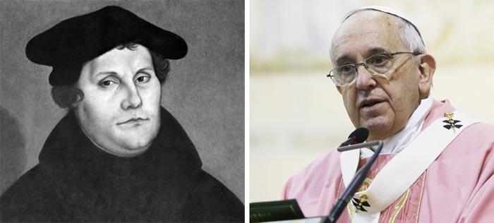 마르틴루터(왼쪽), 프란치스코교황.