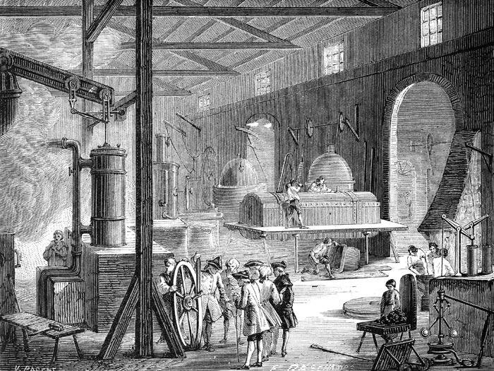 1차 산업혁명기 영국의 제임스 와트가 증기기관 특허를 얻은 뒤 1775년 버밍엄에 세운 공장의 모습.