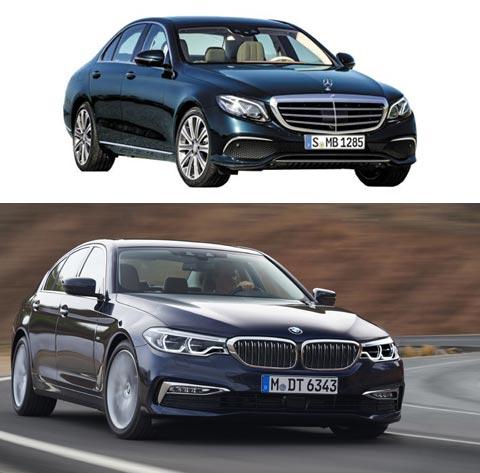 벤츠 E클래스(위), BMW 5시리즈.