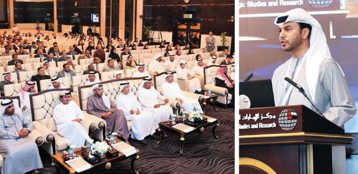 UAE 주요 인사들 앞에 선 駐韓대사 - 지난 20일 압둘라 알 누아이미(오른쪽 사진) 주한 아랍에미리트(UAE) 대사가 아부다비 에미리트 전략 연구 센터에서 'UAE와 대한민국 간 무역의 미래'라는 주제로 강연하고 있다. 이 강연회에는 이 나라 정·관계 및 경제계 인사가 대거 참석했다(왼쪽 사진).