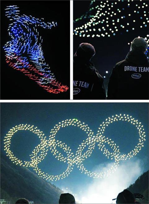 지난 9일 평창 동계올림픽 개막식에서 1218대의 인텔사 드론이 공중에 연출한 영상들.