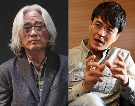 이윤택 감독과 배우 조민기./ 조선 DB