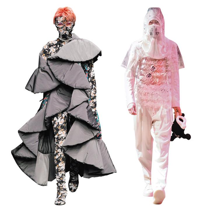 지난 3월 열린 헤라서울패션위크의 '블라인드니스' 패션쇼(왼쪽). 일본 아마존도쿄 패션위크에서 화제가 된 다카히로 미야시타의 작품(오른쪽).