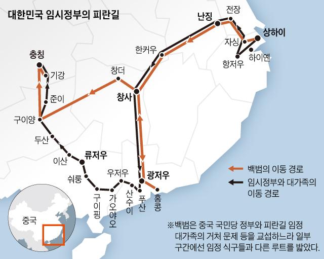 대한민국 임시정부의 피란길 지도