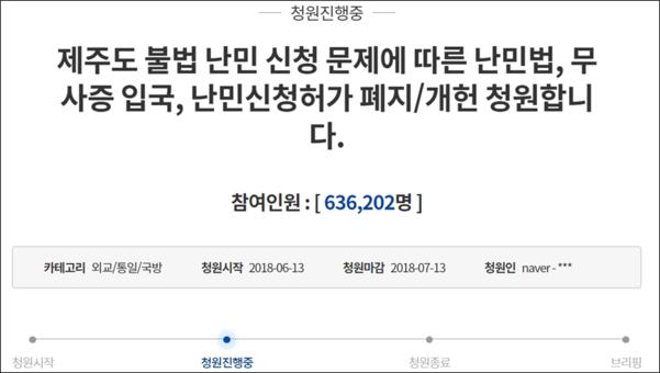 지난달 13일 시작된 '난민법 폐지·개헌' 청원은 참여 인원 63만6000명을 넘어서며 청와대 국민청원 중 최다 추천을 받은 글이 됐다./ 청와대 국민청원 게시판 캡처