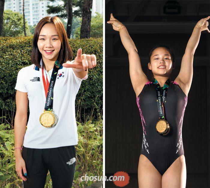2018 자카르타-팔렘방 아시안게임을 빛낸 김서영(왼쪽)·여서정(오른쪽)은 경기체고 선후배 사이다.