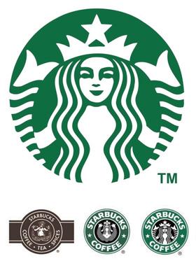 스타벅스 로고의 진화 과정, 위(2011년), 아래(왼쪽부터 1971·1987·1992년).