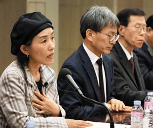 14일 서울 중구 한국프레스센터에서 열린 자유진영 시국 대토론회에서 박선영 사단법인 물망초 이사장이 발언하고 있다.