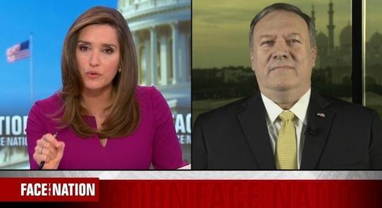 마이크 폼페이오 미국 국무장관이 2019년 1월 13일 UAE(아랍에미리트) 아부다비에서 미 CBS의 시사 프로그램 '페이스 더 네이션'과 화상 인터뷰를 하고 있다. /CBS