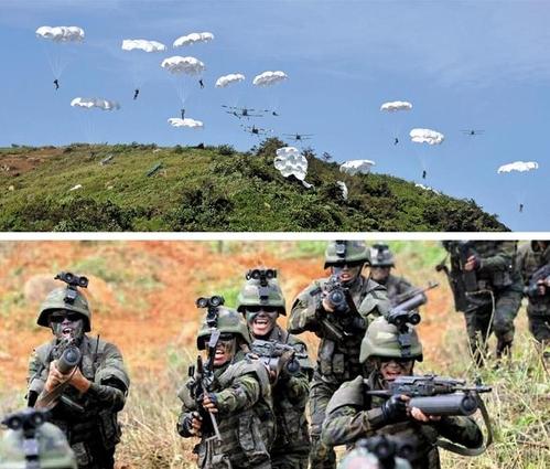 레이더 피하는 비행기로 국군 복장 침투… 北, 백령도·연평도 점령훈련 - 북한은 동해 상으로 단거리 발사체 3발을 쏜 2017년 8월 26일 선전 매체를 통해 서해 백령도·대연평도를 겨냥한 가상 점령 훈련을 공개했다. 북한은 선군절인 8월 25일 진행된 이 훈련에서 우리 군 레이더에 잘 잡히지 않는 AN-2기를 활용해 공수부대를 투입하는 훈련을 실시하고(위 사진), 북한 군인들에게 국군 복장과 유사한 군복(아래 사진)을 입혔다. /조선중앙통신·연합뉴스