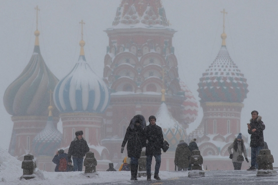 2019년 1월 27일 러시아 수도 모스크바에 폭설이 내렸다. /연합뉴스