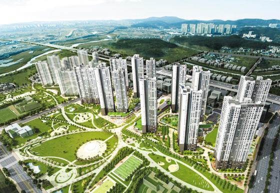 이번 달 판매 될 탕정 단지에서 강원도 푸르지오 (Tangjeong Complex)가 완공되면서 예상되는 외관. KTX 천안 함 아산역은 도심 근처에 위치하고 있습니다. 삼성 디스플레이와 다른 회사가 근처에 있습니다.