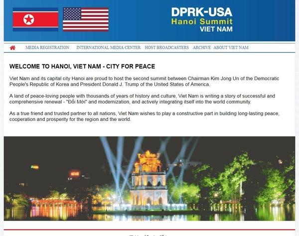 베트남 외교부가 개설한 2차 미북정상회담 공식 홈페이지./홈페이지 캡쳐