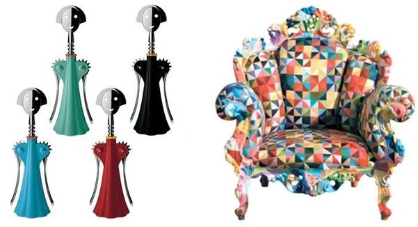알레시와 만든 와인 따개 '안나 G'(왼쪽), 바로크 양식의 의자에 색점을 찍은 '프루스트 의자'./알레시, 조선DB