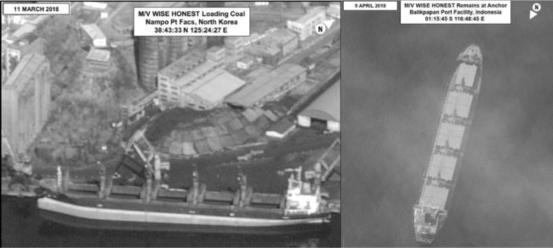 유엔 전문가 패널 대북제재 보고서에 실린 북한 선박 외이즈 어네스트호의 위성사진. 2018년 3월 11일(왼쪽) 북한 남포항에서 석탄을 적재한 후 4월 4일 인도네시아 부근 해역에서 인도네시아 해군에 억류됐으며, 9일(오른쪽) 발리크판판 항구 주변에 정박한 모습이다. /유엔