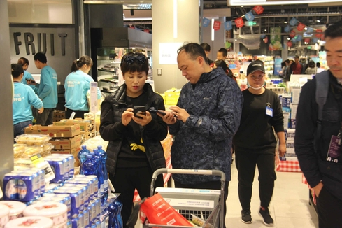 중국에서 온라인과 오프라인을 결합한 신유통 원조로 통하는 허마센성 상하이 매장 /상하이=오광진 특파원