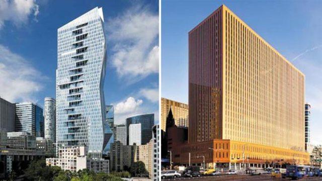 미래에셋대우가 인수를 추진 중인 프랑스 파리의 랜드마크 '마중가 타워'(왼쪽)와 NH투자증권이 올해 1조원을 들여 인수한 서울스퀘어 빌딩 전경.