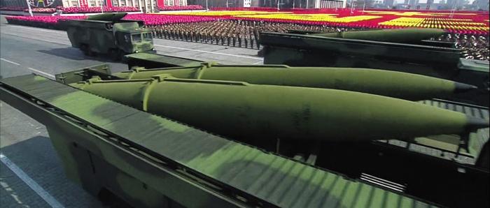 지난해 2월 8일 북한군 창설 70주년 기념 열병식에 처음 등장한 '북한판 이스칸데르' 미사일.
