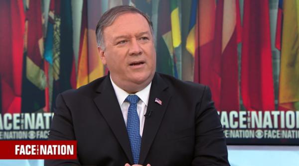 마이크 폼페이오 미 국무장관인 2019년 5월 5일 CBS뉴스 '페이스 더 네이션'에 출연해 북한의 단거리 발사체 발사와 관련한 인터뷰를 하고 있다. /CBS뉴스