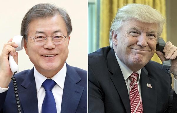 문재인 대통령은 7일 오후 35분간 도널드 트럼프 미국 대통령과 통화하면서 북한이 지난 4일 쏘아올린 발사체 관련 정보를 공유하고 이후 한반도 비핵화 방안에 대해 논의했다. 청와대는 문 대통령과 트럼프 대통령이 오후 10시부터 10시35분까지 통화했다고 밝혔다. /연합뉴스