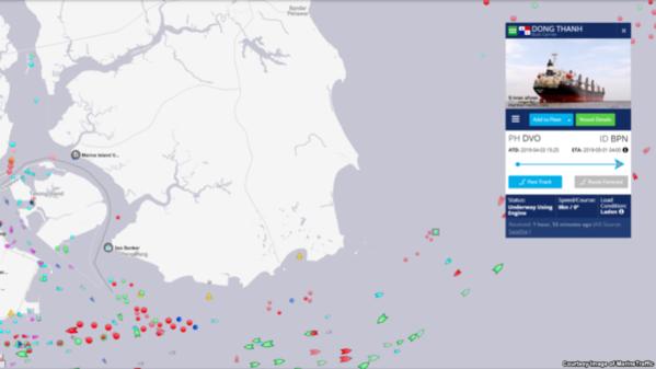 북한산 석탄을 실은 것으로 알려진 동탄호가 지난 1일 말레이시아 최남단에서 동쪽으로 9km 떨어진 해상에 머물고 있다. /VOA, 마린트래픽