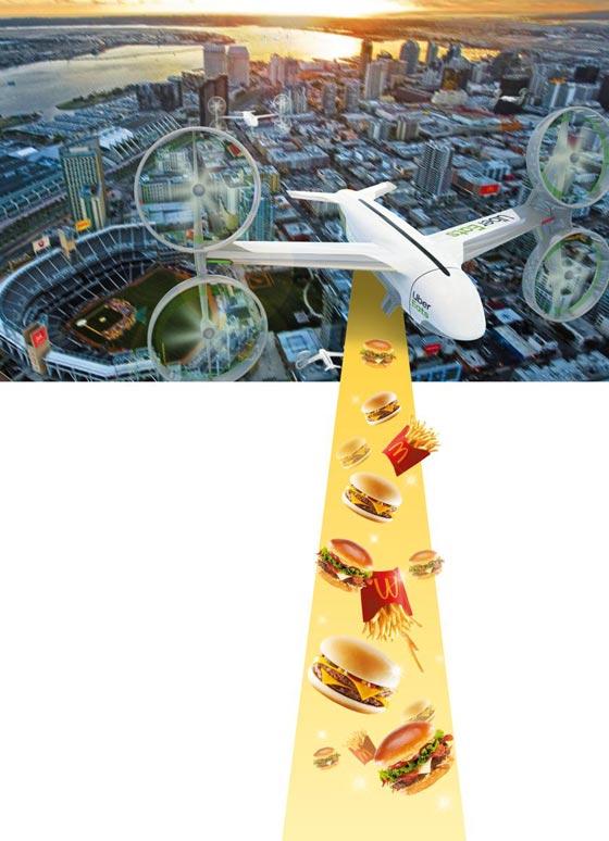 우버가 드론을 이용해 오는 8월 맥도널드 제품을 배달하겠다고 밝히며 공개한 이미지.