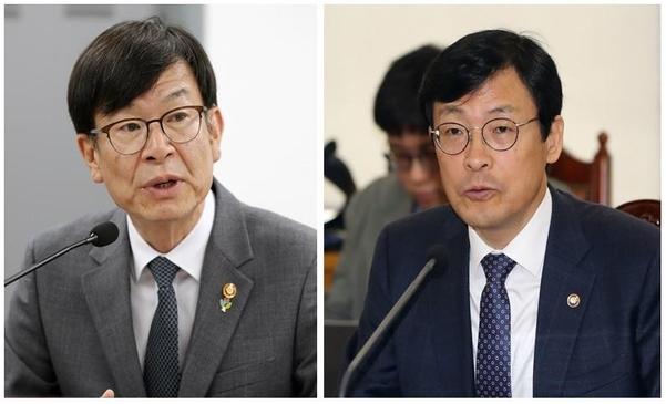 김상조 청와대 신임 정책실장(사진 왼쪽부터), 이호승 신임 경제수석 /연합뉴스