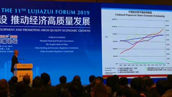 미⋅중 무역협상 중국측 대표인 류허 부총리는 거대한 내수시장이 추동하는 경제구조로의 전환이 외부 충격에 강한 체질을 만들었다고 주장한다. 지난 13일 상하이 포럼에서도 이같은 주장을 폈다. /중국경제망
