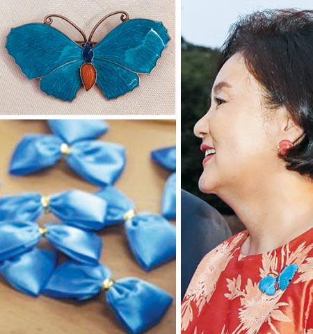 김정숙 여사가 지난달 29일 한·미 정상 만찬 때 나비 모양 브로치를 착용하고 있다(오른쪽 사진).