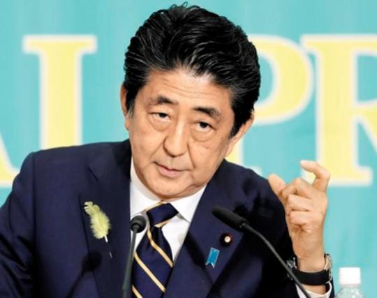 아베 신조 일본 총리가 2019년 7월 3일 도쿄에서 열린 여야 당대표 토론회에서 발언하고 있다. /EPA 연합뉴스