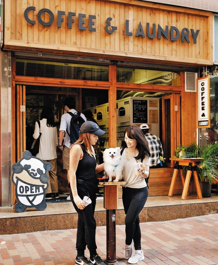 빨래방이 카페 - 홍콩 성완(上環)역 부근에 있는 공유 빨래방 '커피 앤드 런드리'에 찾아온 손님들이 세탁기가 돌아가는 동안 커피를 마시며 함께 온 반려견과 시간을 보내고 있다.