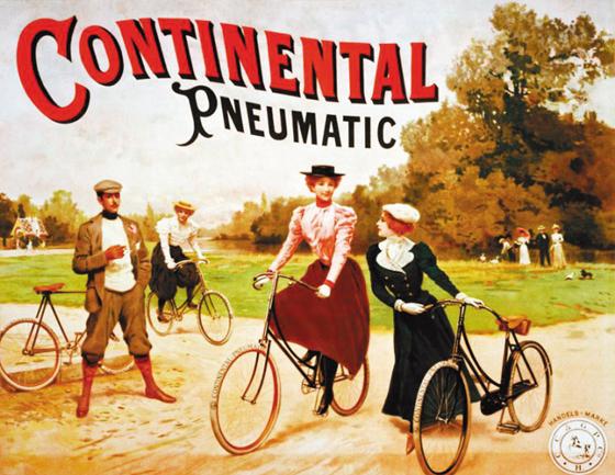 1892년 콘티넨탈이 생산한 자전거용 공기압 타이어를 보여주는 기업 포스터.