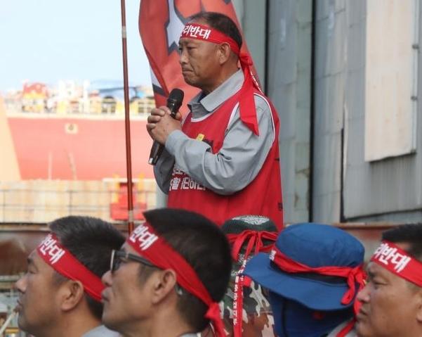지난달 24일 오후 울산시 동구 현대중공업에서 열린 노조의 파업 집회에서 박근태 지부장이 발언하고 있다. /연합뉴스