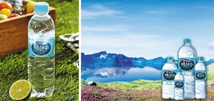농심 백산수는 백두산 천연 화산암반수를 그대로 담아 미네랄이 풍부하고, 물맛도 좋은 생수로 평가 받는다.