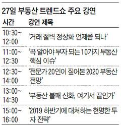 27일 부동산 트렌드쇼 주요 강연