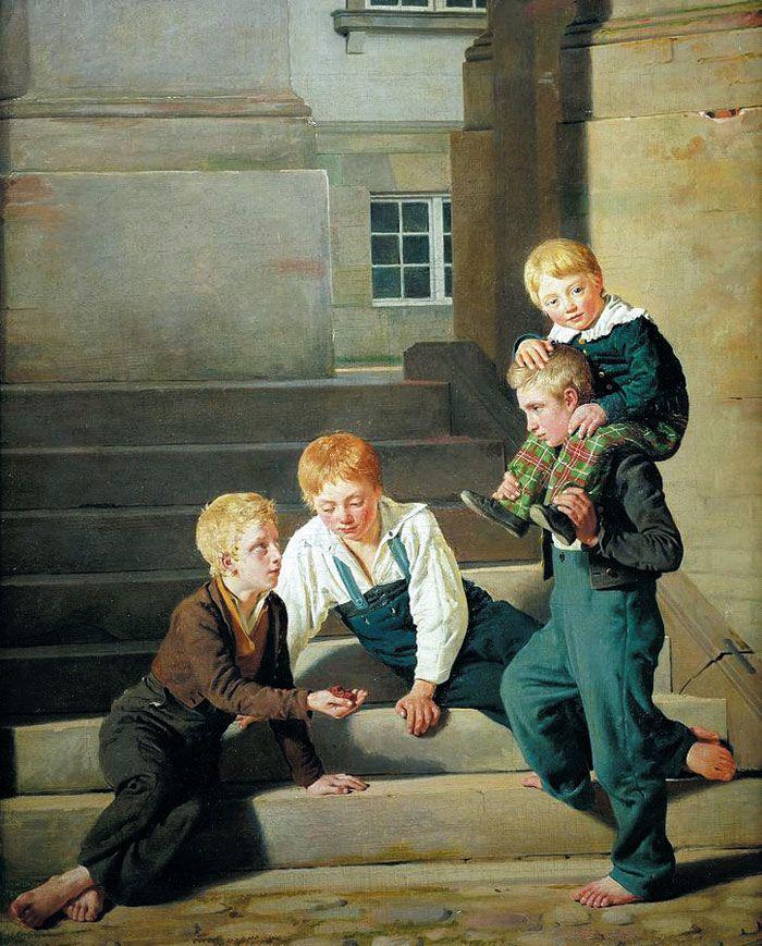콘스탄틴 한센, 코펜하겐의 크리스티안스보르궁 앞에서 주사위 놀이를 하는 소년들, 1834년, 캔버스에 유채, 61×50㎝, 파리 루브르 박물관 소장.