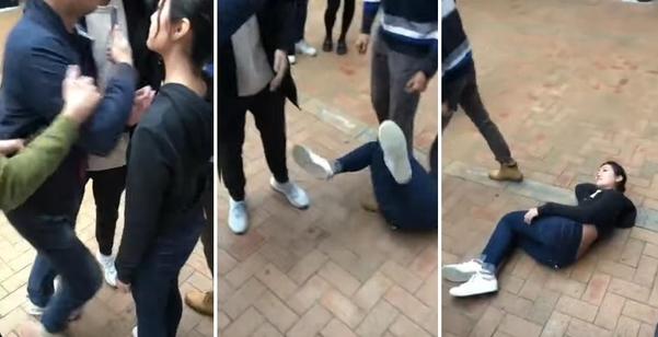 뉴질렌드 오클랜드 대학에서 홍콩 출신 유학생 세레나 리씨가 중국 본토 출신 유학생들과 대거리를 하다 폭행당한 뒤 바닥에 누워 있는 모습./유튜브 캡처