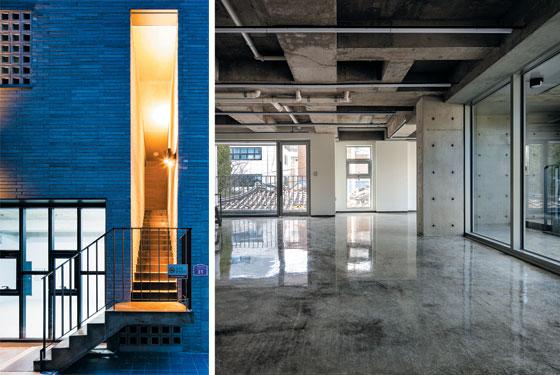 건물에 내부 마감 공사는 최소화하고 공용부인 계단을 특화해 설계한 서울 마포구 성산동의 상가 주택 '어반멤브레인'(왼쪽 사진).