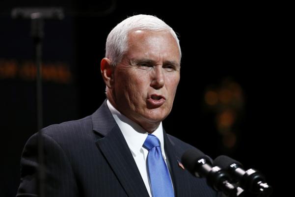 마이크 펜스 미국 부통령이 8일 미 워싱턴 DC에서 '이스라엘을 위한 기독교인 연합(CUFI)'이 주최한 행사에 참석해 연설하고 있다. /AP