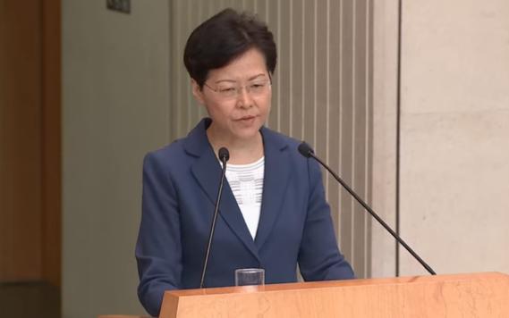 캐리 람 홍콩 행정장관이 13일 기자회견을 하고 있다. /CNA