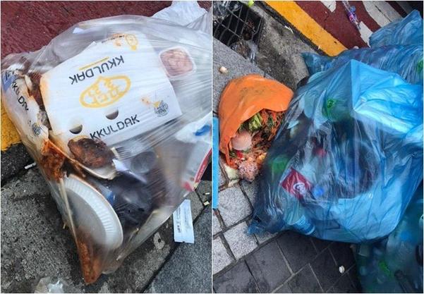 지난 6일 오전 민주노총 금속노조 산하 삼성전자서비스지회 조합원들이 버리고 재활용 쓰레기 봉투 안에 음식물 쓰레기와 재활용이 불가능한 폐기물이 섞여 있는 모습. /민영빈 인턴 기자