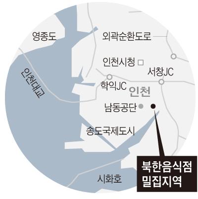 북한음식점 밀집지역 위치도
