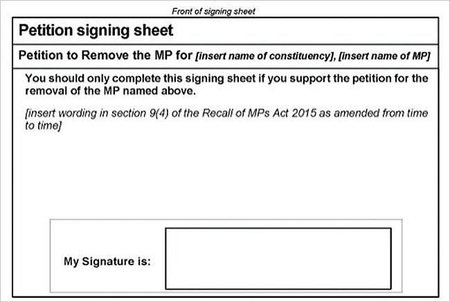 하원의원 소환 서명 용지. '위의 의원을 소환하는 데 찬성하는 경우에만 이 용지에 서명해야 한다'고 적혀 있다.